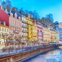 Karlovy Vary, Czech Republic street view, houses and river in famous spa town